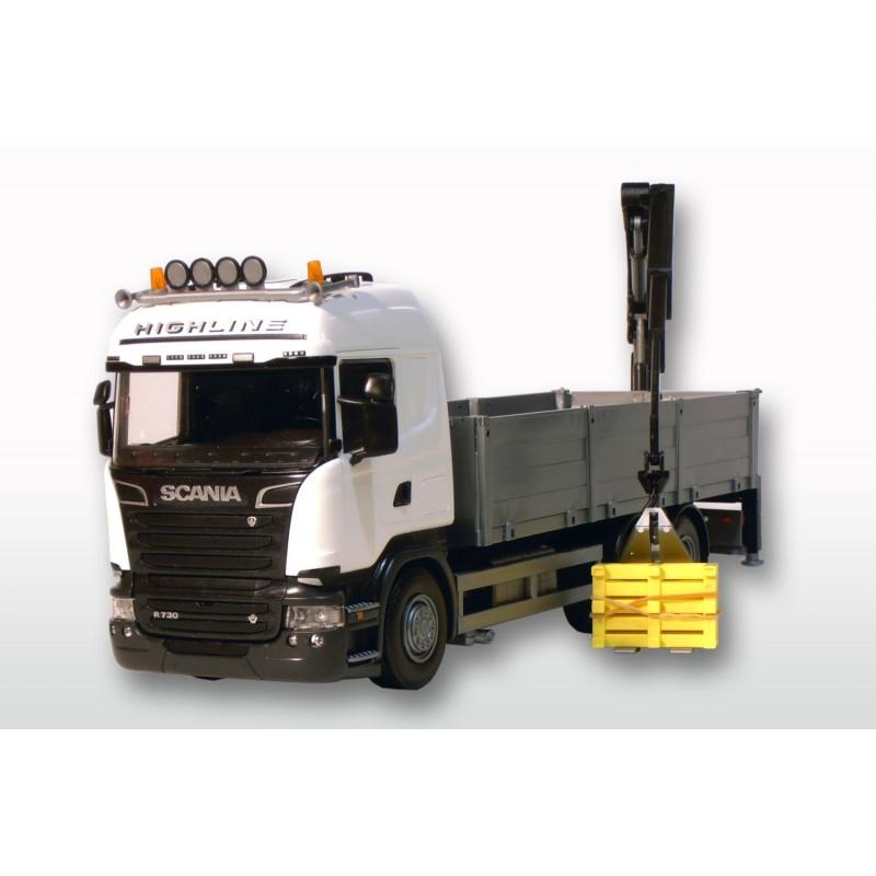 Emek Scania R730 Streamline Bouwmaterialenopbouw en kraan - Wit - EM50402