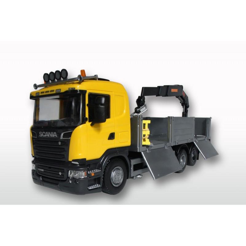 Emek Scania R730 Streamline Bouwmaterialenopbouw en kraan - Geel - EM50409