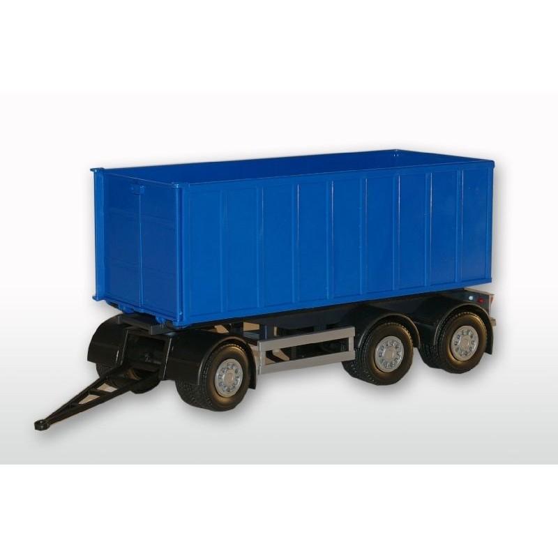 Emek Aanhanger 3-As met afrolcontainer groot - Blauw - EM89004